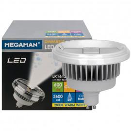 LED Lampe, Reflektor, GU10 / 12W, 600 lm, 3600cd, 2800K, Megaman