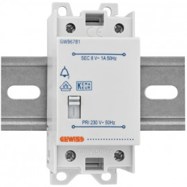 AP Klingeltrafo, NTF 1, auch für Reiheneinbau, mit Schalter, primär 230V, sekundär 8V/1A