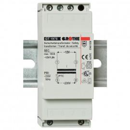 Sicherheits Klingeltrafo für Reiheneinbau, GT1975, primär 230-240V, sekundär 12V / 1,5A