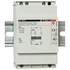Sicherheits Klingeltrafo für Reiheneinbau, GT1973, primär 230-240V, sekundär 8-12V / 2-2A