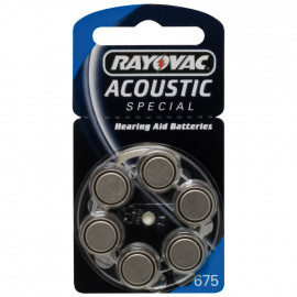 Knopfzellen für Hörgeräte, Zink/Luft, ACOUSTIC, V 675 AT, 1,4V/640 mAh - Rayovac