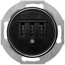 Steckdose TAE 3 fach Kombi, Unterputz, NFN, Zentralplatte Bakelit schwarz, THPG
