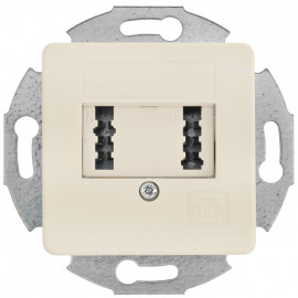 Telefonsteckdose Kombi TAE 2 x 6 FN, mit Zentralplatte 50 x 50 mm, KLEIN LX® weiß