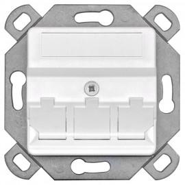Modularadapter zur Aufnahme von CAT Modulen in Kanal und Schalterdosen, 3 fach, reinweiß