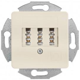 Telefonsteckdose Kombi TAE 3 x 6 NFN, mit Zentralplatte 50 x 50 mm, KLEIN LX® weiß