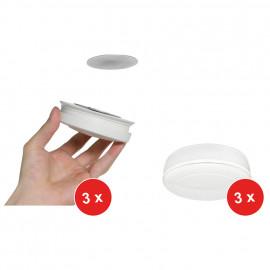 Rauchmelder Set, 3+3, BARM218 + Magnet Befestigungsset, fotoelektrisch, Q+VdS, weiß