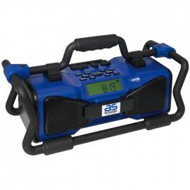Baustellenradio, blau, regen/staub- und schockresistend mit Überrollkäfig