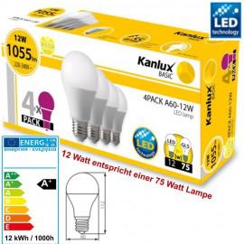 4er Packung LED Leuchtmittel 12 Watt ( = 75 Watt ) E27 Fassung