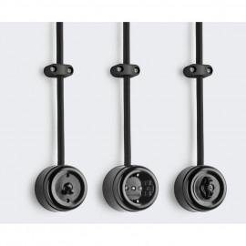 Schaltereinsatz Wippe Kreuz, Aufputz, 10A / 250V, IP20, Bakelit schwarz, THPG