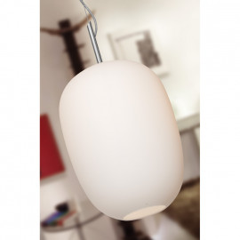Pendelleuchte, Wohnraumleuchten 1 x E27 / 60W Glas glänzend weiß