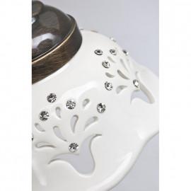 Pendelleuchte, Wohnraumleuchten Keramik weiß 1 x E27 / 60W florale Muster
