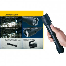 LED Handscheinwerfer, INDESTRUCTIBLE, 1 LED / 3W Länge 136mm, Ø 41mm - Varta