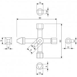 Schaltschrankschlüssel, PROFI-KEY, Metall, LängeL 90mm, Breite 60mm