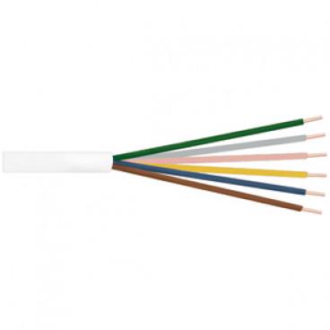 100 Meter Klingeldraht Rundleitung, 6 x 0,8²mm, weiß, inkl. CU