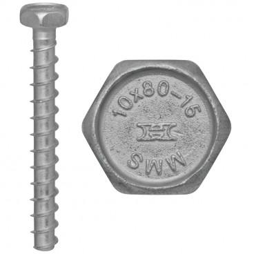 50er Packung Brandschutz Schraubanker, MMS, Sechskant-Kopf SW 16  Ø 10,0 x 80 mm