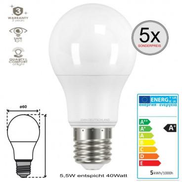 5 x E27 LED SMD Birnenlampe Normalmweiß 5,5W entspricht 40Watt