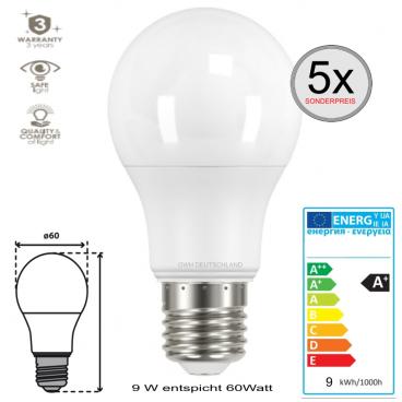 5 x E27 LED SMD Birnenlampe normalweiß 9 W entspricht 60Watt