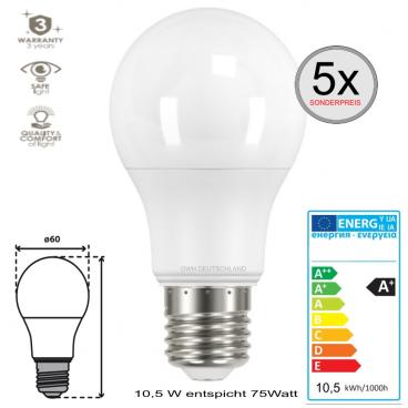 5 x E27 LED SMD Birnenlampe warmweiß 10,5 W entspricht 75 Watt