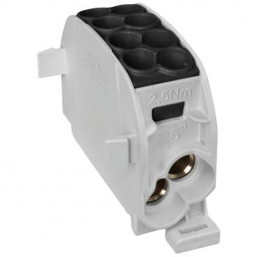 Hauptleitungs Abzweigklemme, 1-polig, 2 Eingänge 25 mm² und 2 Ausgänge 16 mm² schwarz