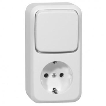 Aufputz Kombination Aus / Wechsel Schalter / Steckdose, reinweiß