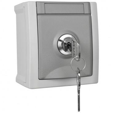Steckdose, 1 fach, Aufputz, Feuchtraum, abschließbar, Schließung 2, IP54, grau/dunkelgrau