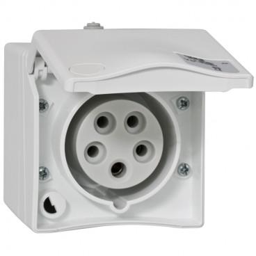 CEE AP-Steckdose, gerade, weiß, 5-polig, 16A/400V, IP44 - PCE