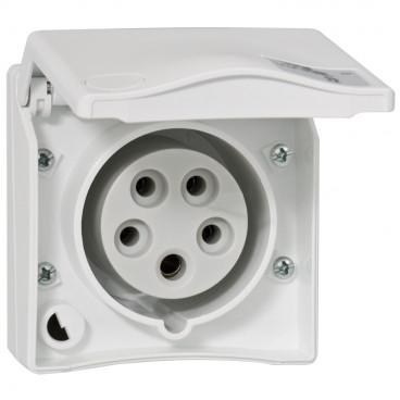 CEE Anbausteckdose, gerade, weiß, 5-polig, 16A/400V, IP44 - PCE