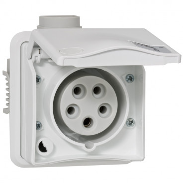 CEE UP-Steckdose, gerade, weiß, 5-polig, 16A/400V, IP44 - PCE