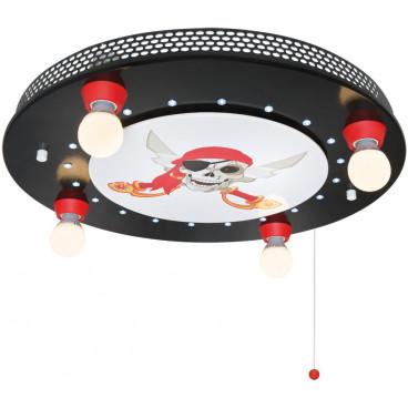 Kinderzimmerleuchte, Totenkopf  Deckenleuchte, 4 x E14 / 40W und 20 LEDs / 0,07W