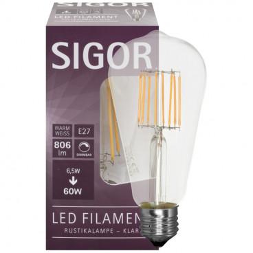 LED Fadenlampe, Edison, E27 / 6.5W, klar, 806 lm, dimmbar, Sigor