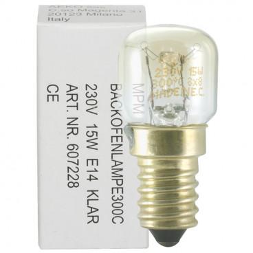 Backofenlampe, E14 / 15W, Birnenform, hitzebeständig bis 300°C klar