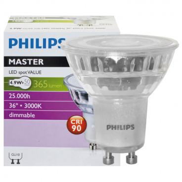 LED Lampe, Reflektor, MASTER LEDspot Value, GU10 / 4,3W, 355 lm, 3000K, dimmbar, Philips