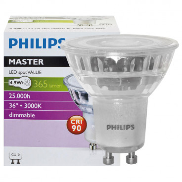 LED Lampe, Reflektor, MASTER LEDspot Value, GU10 / 4,3W, 355 lm, 2700K, dimmbar, Philips