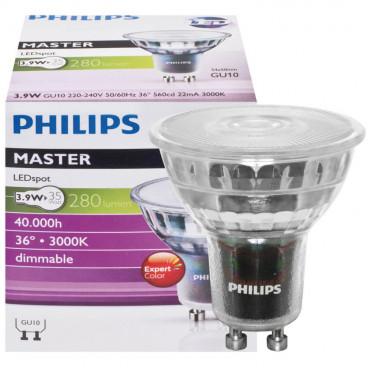 LED Lampe, Reflektor, MASTER LEDspot, Ra90, GU10 / 4W, 272 lm, 3000K, dimmbar, Philips