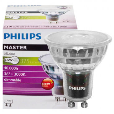 LED Lampe, Reflektor, MASTER LEDspot, GU10 / 5,4W, 378 lm, 3000K, dimmbar, Philips