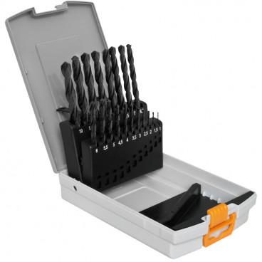 Metallspiralbohrer Set, HSS-R,19-teilig, ähnlich DIN 338, in Kunststoffbox