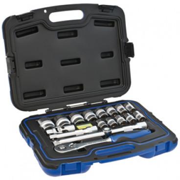 Steckschlüsselsatz, 17-teilig, in Kunststoffbox