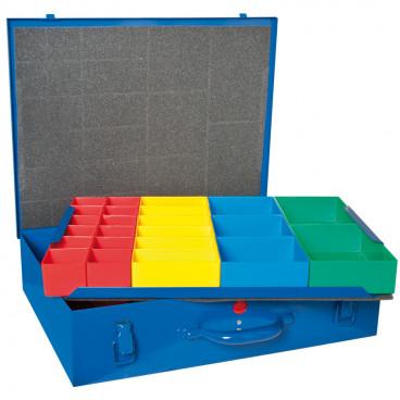 Kleinteile Magazinkoffer, 59 Insertboxen, doppellagig, farbig sortiert