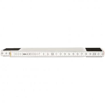 Maßstab, Buchenholz, weiß lackiert, Länge 2 m