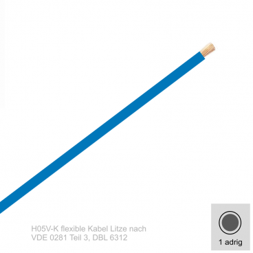 0,75 mm² einadrig H05V-K Leitung Farbe Blau 10 Meter Bund