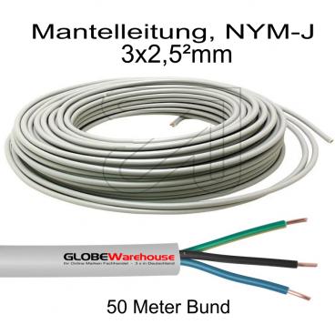 Mantelleitung, 3 x 2,5² NYM-J, grau 50 Meter Bund