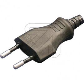 Europa -Stecker schwarz mit Zugentlastung, für Leitung H05VV-F 2x0,75mm²