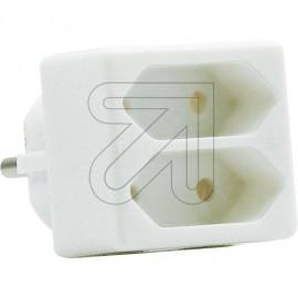 Europa Zweifachstecker  weiß für die Schutzkontaktsteckdose 250V / 2,5A