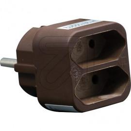 Europa Zweifachstecker braun für die Schutzkontaktsteckdose 250V / 2,5A