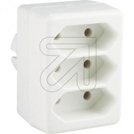 Europa Dreifachsteckerr weiß für die Schutzkontaktsteckdose 250V / 2,5A
