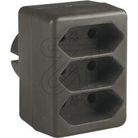 Europa Dreifachsteckerr braun  für die Schutzkontaktsteckdose 250V / 2,5A