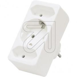 Europa Kombistecke Adapter 2+1 weiß 250V / 16A