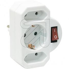 Kombi Adapter 2+1 mit Schalter weiß aus bruchfestem Spezialkunststoff