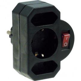 Kombi Adapter 2+1 mit Schalter schwarz aus bruchfestem Spezialkunststoff