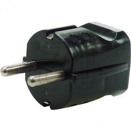 Schutzkontakt Standard Stecker schwarz Thermoplast 250V / 16A, VDE / KEMA KEUR